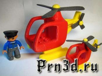 Конструктор Вертолет для лего человечков на 3Д принтере