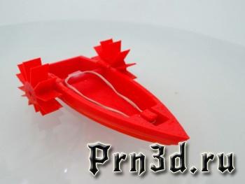 модель резиномоторной лодки для ванной на 3Д принтере
