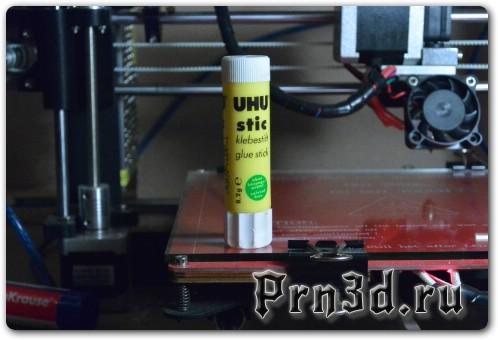 Результат печати  ABS пластика на клеящий карандаш UHU stick